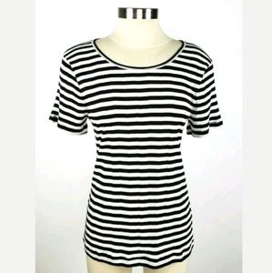 Madewell Black & White Striped Womens Ribbed Shirt